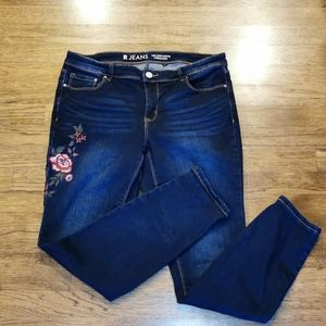 Stretch Dark Wash Jeans Embroidered Roses …